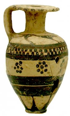 V.F.4. Aryballos (perfume bottle) decorated with dog s and rosettes, found on Timpone della Motta, 7th c. BC, National Archaeological Museum, Sibari.