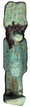 Faience amulet of Anubis, height 4.5cm, late 8 th/ 7th c. BC, found during the Scavi Kleibrink 1991-2004, National Archaeological Museum, Sibari.