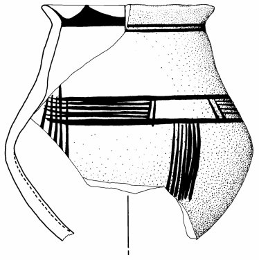 Jug decorated in the matt-painted Fringe Style, preserved height 12.5cm, found on the Timpone della Motta, 8th century BC.