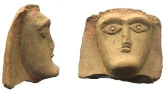 Head of a Goddess with raised arms, terracotta, height 4 cm, found during the Scavi Kleibrink 1991-2004 (AC26.19.tc10) on the temple plateau on top of the Timpone della Motta, ca. 680 BC, now in the National Archaeological Museum at Sibari.