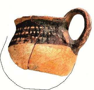 Hand-made drinking mug with matt-painted decoration in the 'Crosshatched Bands Style', from the Scavi Kleibrink 1991-2004, Timpone della Motta, second half 8th c. BC, National Archaeological Museum, Sibari.