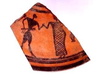 Fragment of a pyxis lid decorated with a dancing couple, by the Francavilla Painter, last quarter 8th c. BC, diameter circa 30cm, National Archaeological Museum, Sibari.