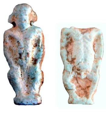 Faience amulet pendants of a dwarf god, so-called pataikoi, found on the Temple plateau of the Timpone della Motta during the Scavi Kleibrink 1992-2004, 7th century BC.
