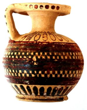 Globular aryballos (scent bottle) on base, decorated with purple and black dotted bands, from the Scavi Kleibrink 1991-2004 on the Timpone della Motta, mid 7th c. BC, National Archaeological Museum, Sibari.