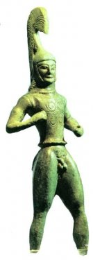 Bronze figurine of a hoplite (citizen-soldier) from the Athenaion on the Timpone della Motta. Height 12.5cm, ca. 530BC. From the Excavations Stoop, found in Temple I. National Archaeological Museum of the Sibaritide, Sibari, inv. no. 65148.