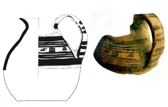 Hand-made jug decorated with a heavy banded frieze filled in with small swimming birds, in 'Crosshatched Bands Style'. From the Scavi Kleibrink 1991-2004, Timpone della Motta, first half 8th c. BC, National Archaeological Museum, Sibari.