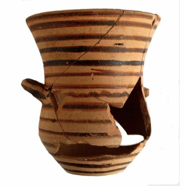 Lakaina (Laconian mug), produced locally, Scavi Kleibrink 1991-2004, Timpone della Motta, second half 7th c. BC, National Archaeological Museum, Sibari.