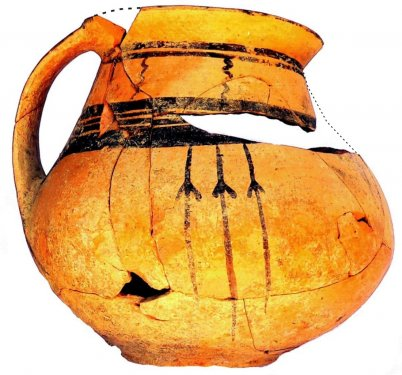 Matt-painted jug in Linear style, found during the Scavi Kleibrink 1991-2004 on the Timpone della Motta, 7th c. BC, National Archaeological Museum, Sibari.