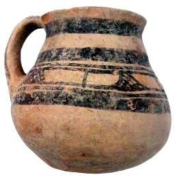 Matt-painted drinking mug or juglet decorated with broad bands, height 8.4cm, found during the Scavi Kleibrink 1993-2004 on the Timpone della Motta, Middle Geometric period, 9th/8th c. BC, National Archaeological Museum, Sibari.