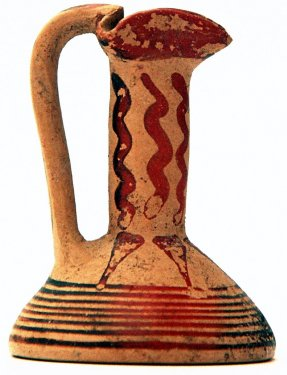Miniature oil jug (conical lekythos) with sub-geometric decoration, height 5.7 cm, Late Proto-Corinthian, second half 7th c. BC, National Archeological Museum, Sibari.