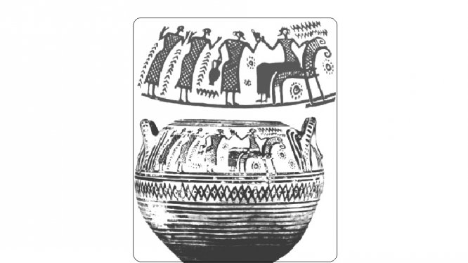 Large pyxis (container for cosmetics) by the Francavilla Painter, with scenes of worship; final quarter of the 8th c. BC. Height 22cm. Cahn Sale Catalogue 1998, present location unknown